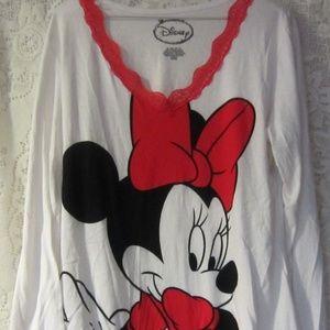 Minnie Mouse long sleeve v neck shirt size XL